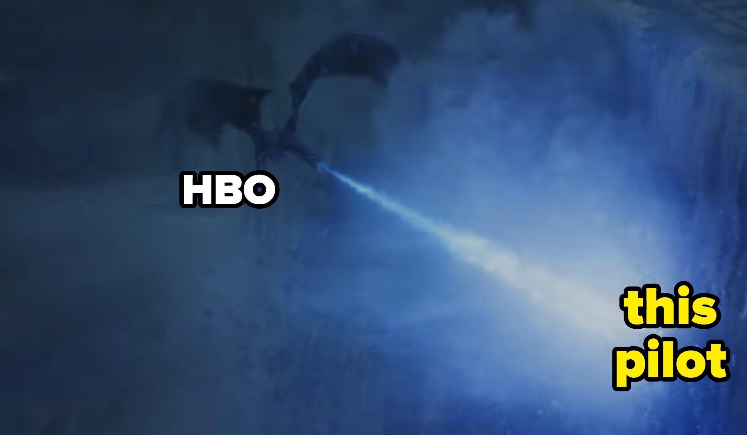 An ice dragon burns down the wall