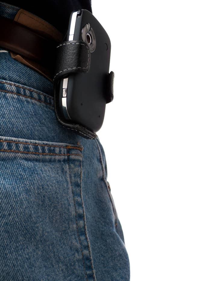 Cellphone holster attached to someone'e jeans