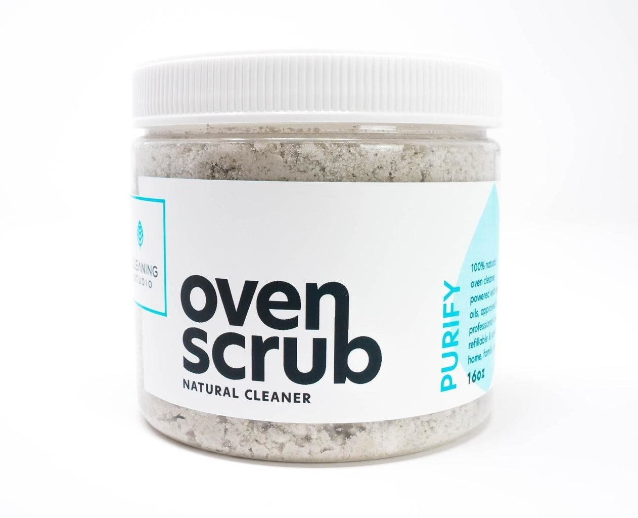 clear jar of an oven scrub natural cleaner