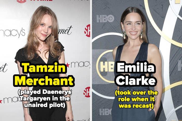 Tamzin Merchant (the original Daenerys) and Emilia Clarke (who played Daenerys in the series)