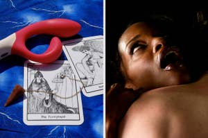 side-by-side image of a sex toy on a tarot card and an orgasm face model
