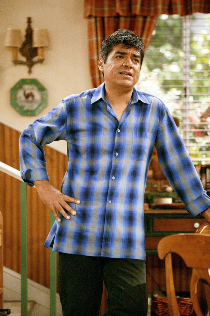 George Lopez posing in a blue plaid shirt
