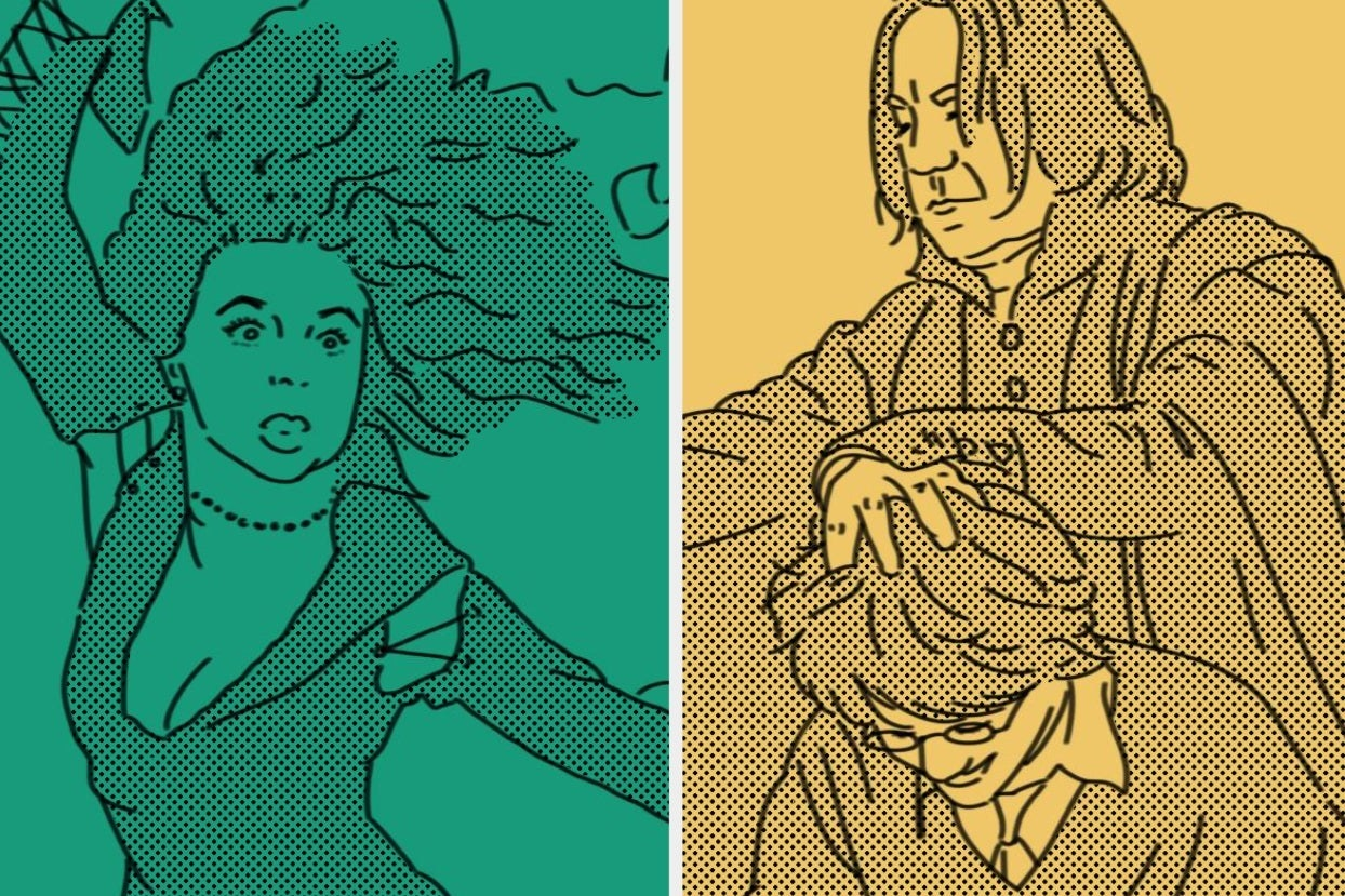 Bellatrix and Snape pushing Harry's head to look at his homework