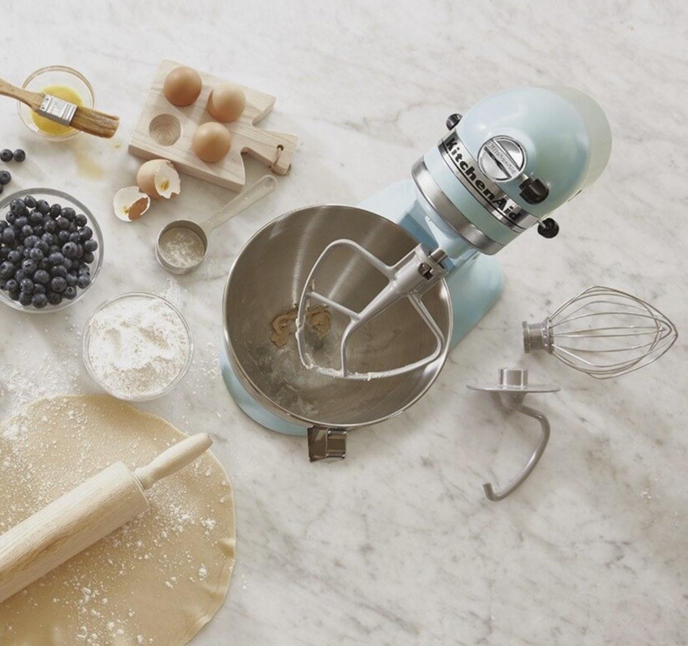 The light blue stand mixer