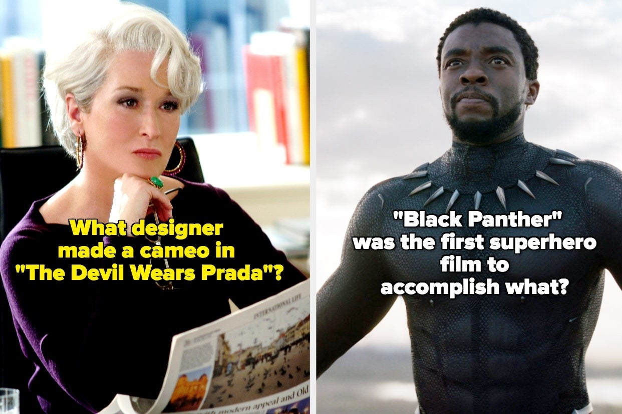 """""""What designer made a cameo in 'The Devil Wears Prada'?"""" and '""""Black Panther' was the first superhero film to accomplish what?"""""""