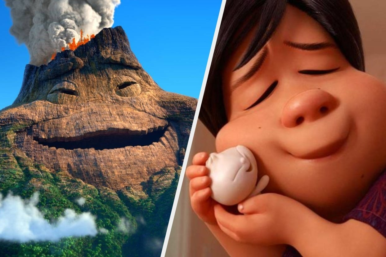 Happy volcano and woman hugging Bao