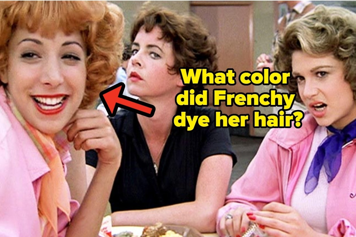 """Frenchie, Rizzo, and Marty with the words """"What color did Frenchy dye her hair?"""""""