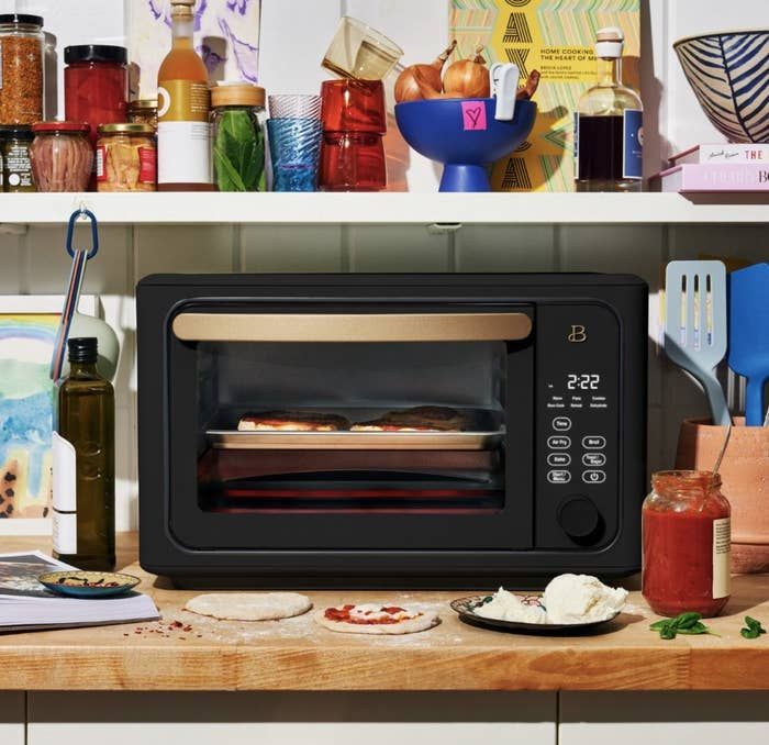 The toaster oven in a matte black