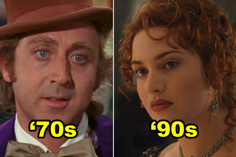 """Willy Wonka with the number '70s and Rose from """"Titanic"""" with '90s"""