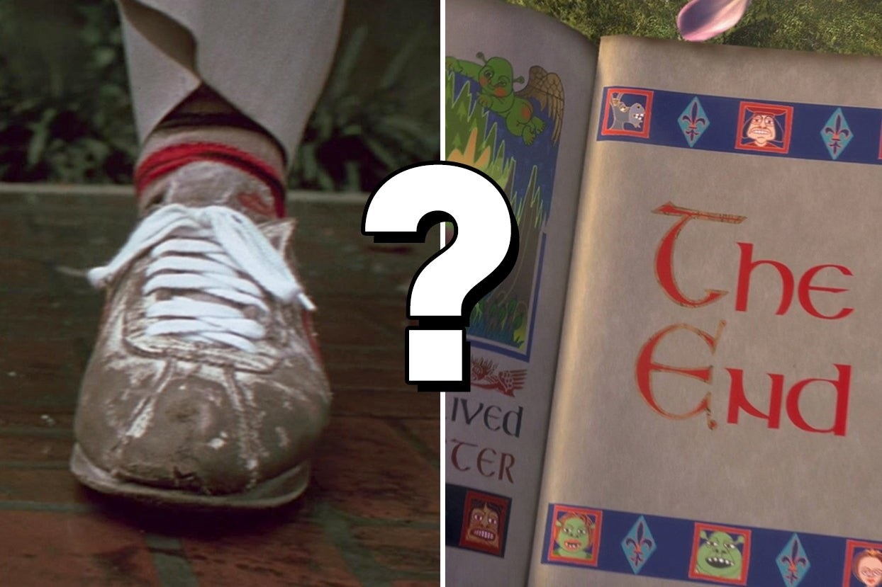 """Muddy shoes, a question mark, and a book with the words """"The End"""""""