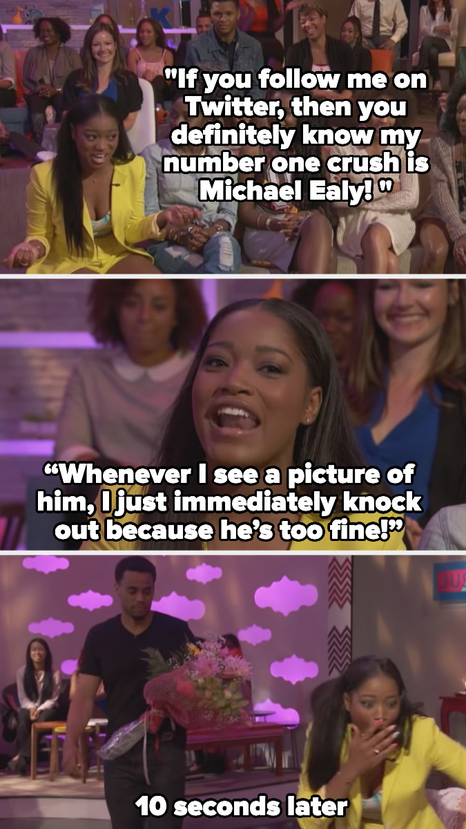 Keke Palmer talking about how Michael Ealy is her celeb crush and then him surprising her with flowers