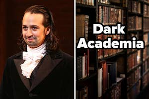 """Hamilton is on the left with a bookcase on the right labeled, """"Dark Academia"""""""