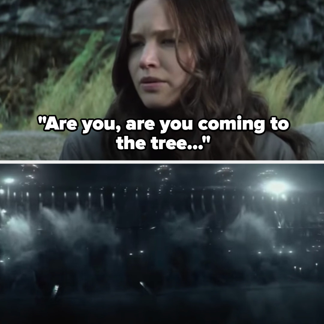 """Katniss singing """"are you, are you coming to the tree"""" and the dam breaking"""