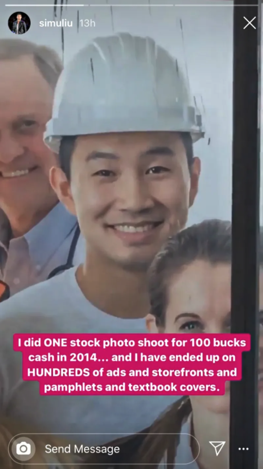 Zoomed in photo on Simu Liu wearing construction hat