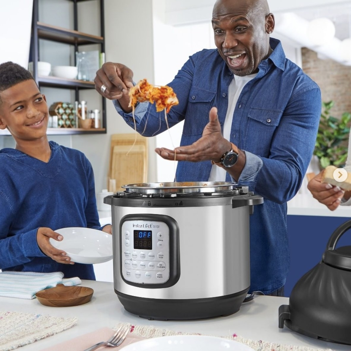 A person scooping food out of an Instant Pot