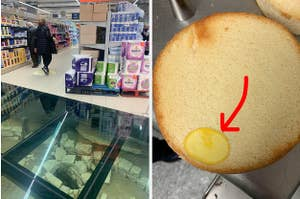 A grocery store with an ancient well and a cake with a cooked egg yoke