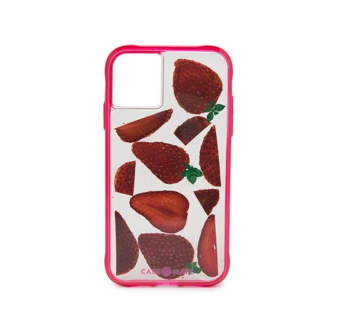 The iPhone 11 fruit phone case in clear with strawberries