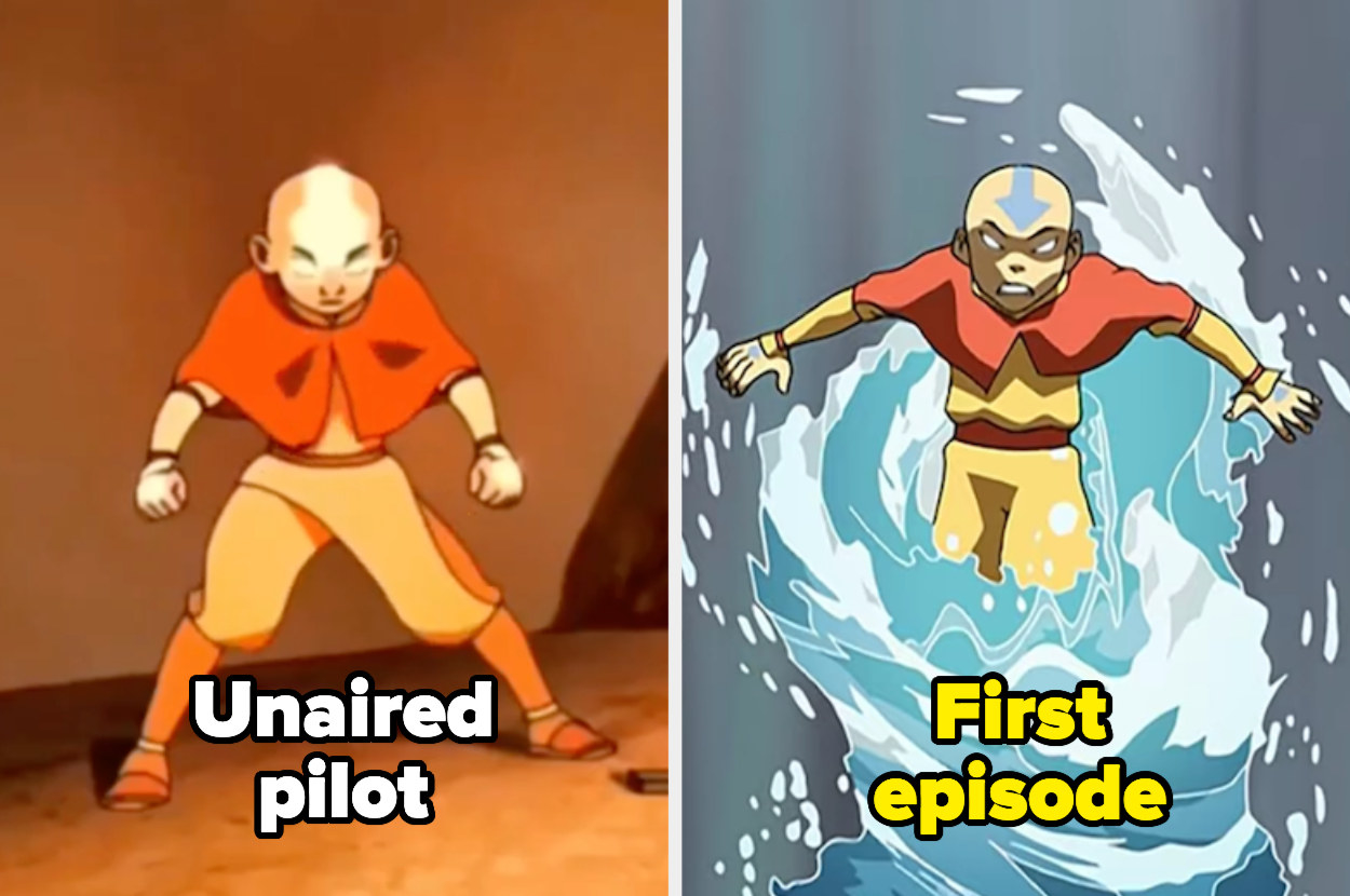 Aang entering the Avatar state in the unaired pilot and first episode