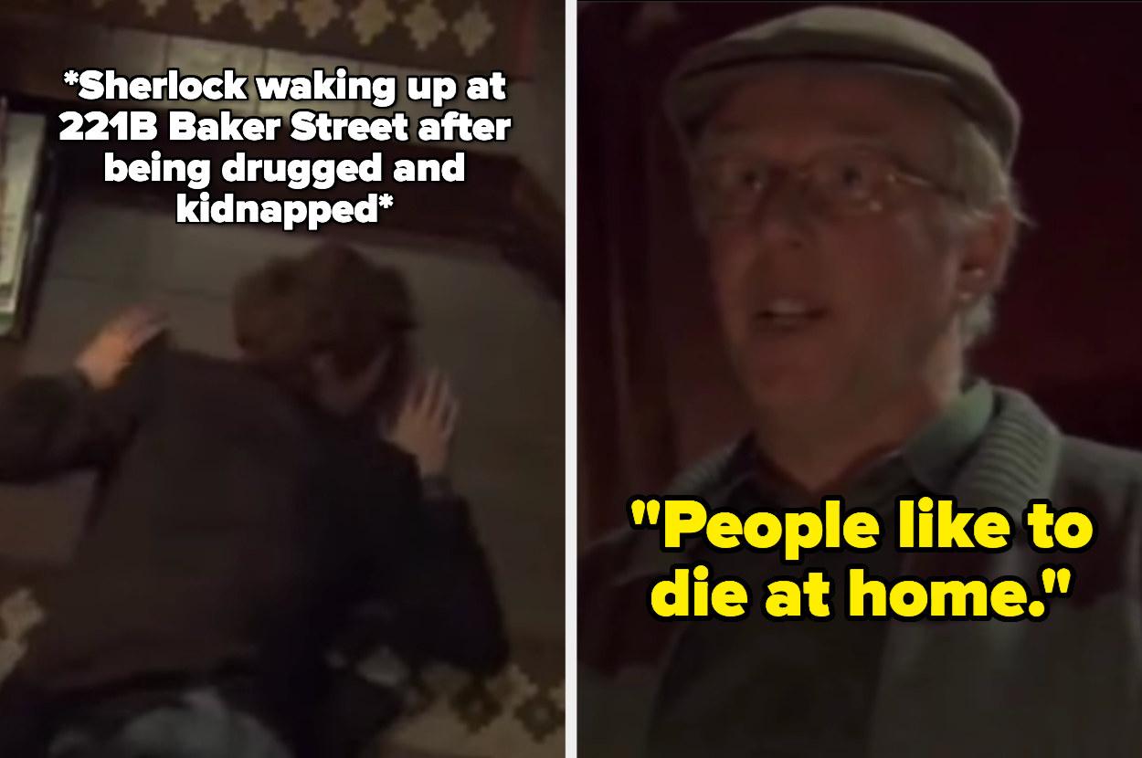 "The cabbie tells Sherlock ""people like to die at home"""