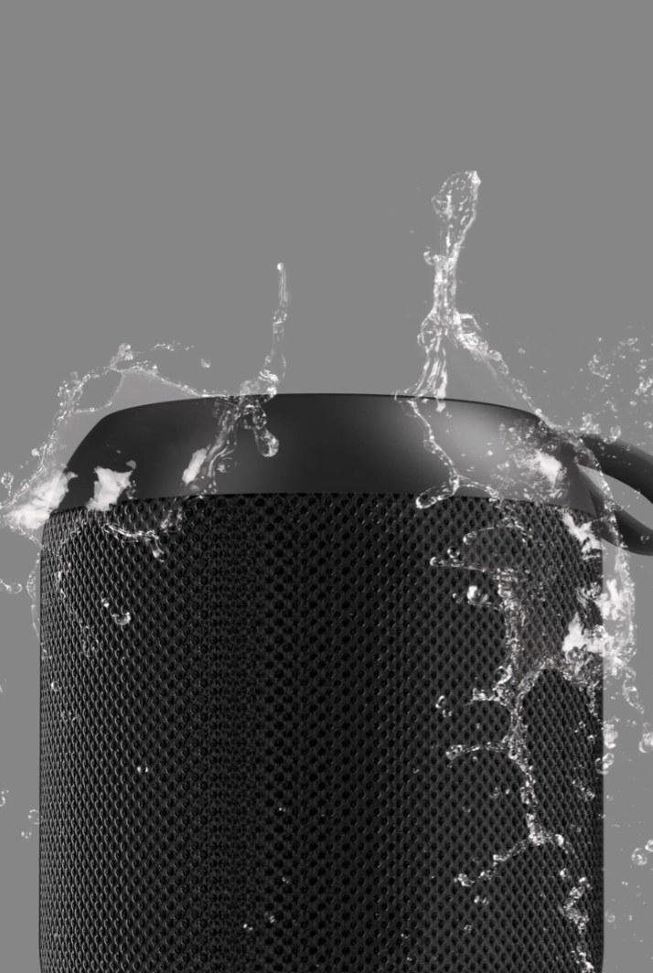 The rubberized waterproof speaker in black