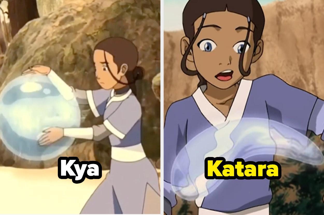 Kya and Katara side-by-side, waterbending