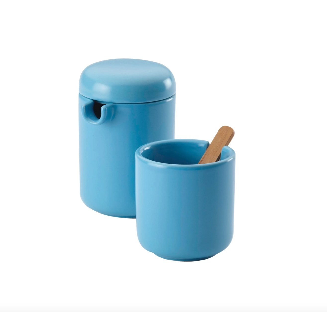 The ceramic coffee and creamer set in aqua