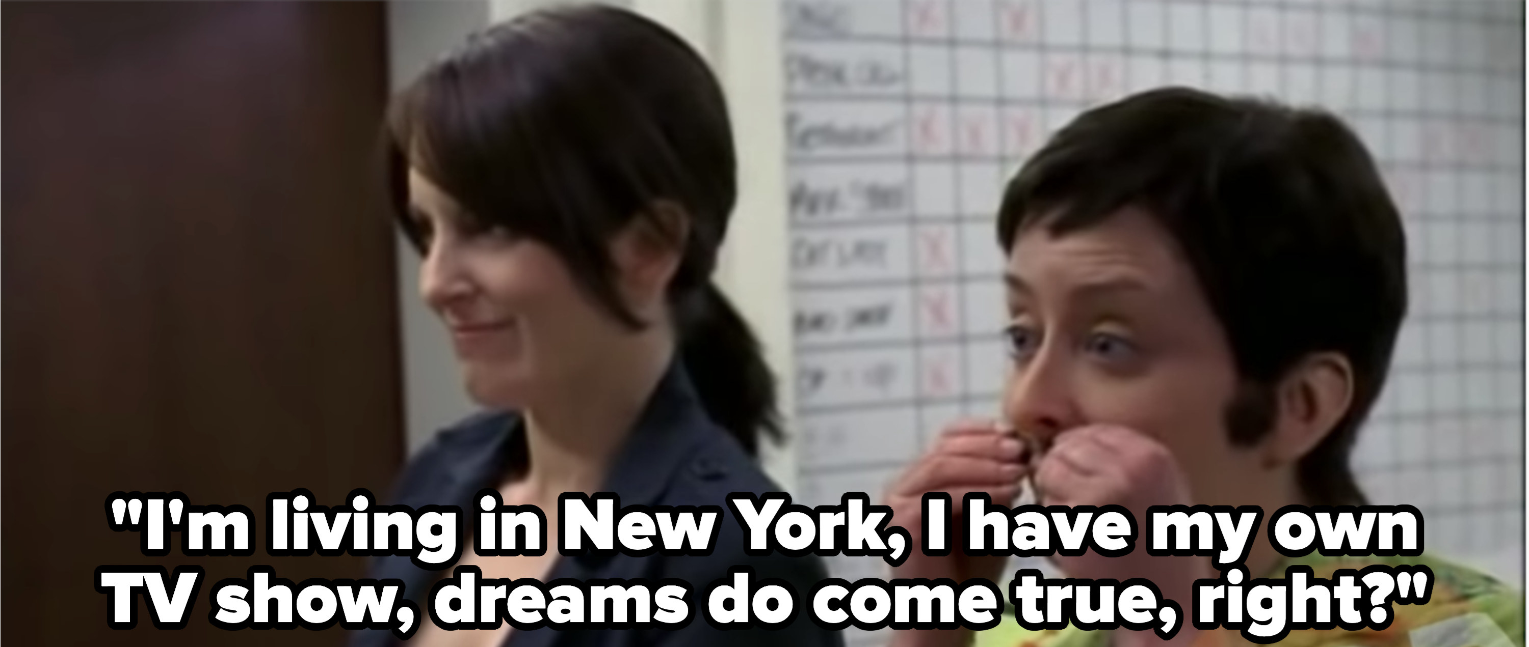 """Dratch as Jenna says """"I'm living in New York, I have my own TV show, dreams do come true, right?"""""""