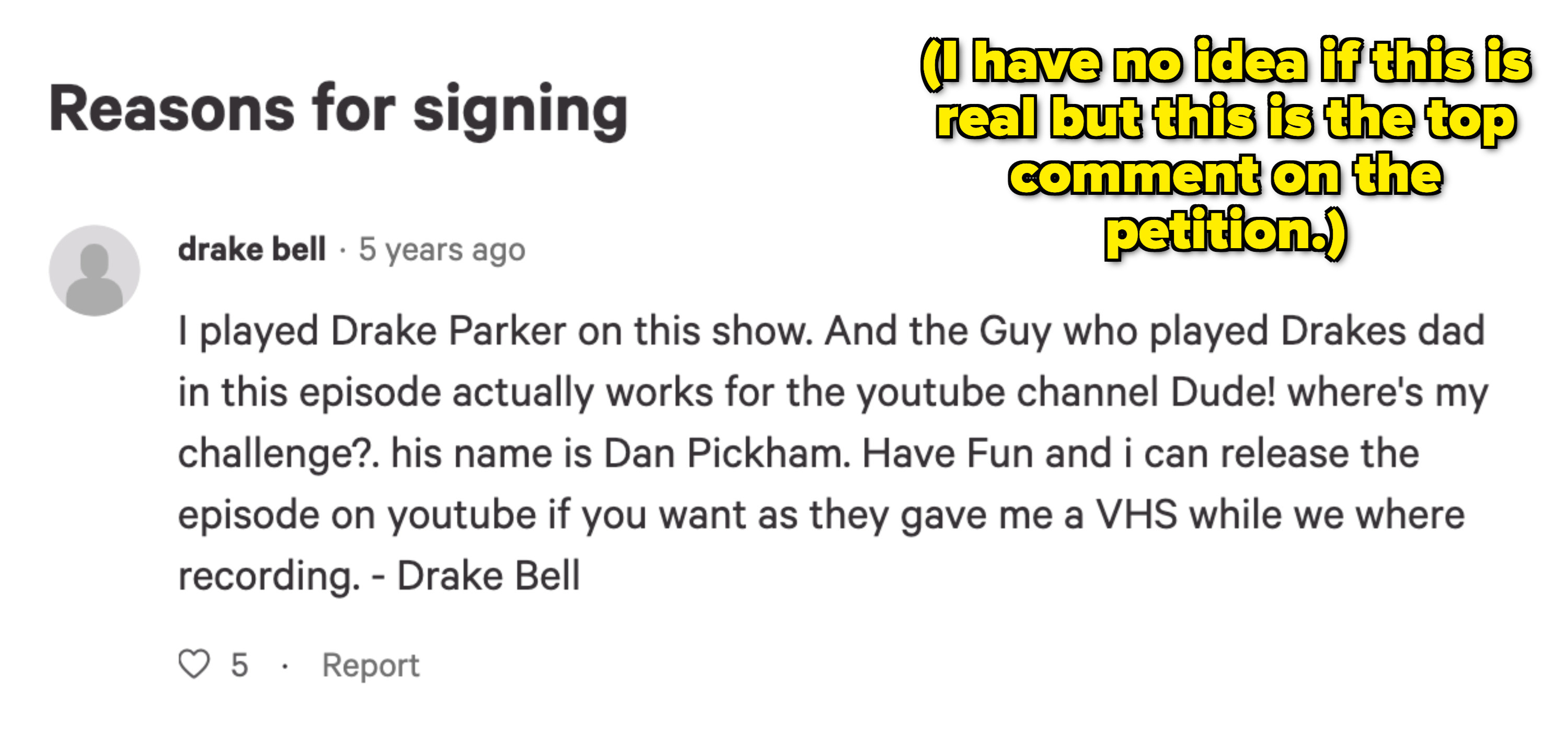 """Supposedly, """"Drake Bell"""" comments on a petition to release the pilot"""