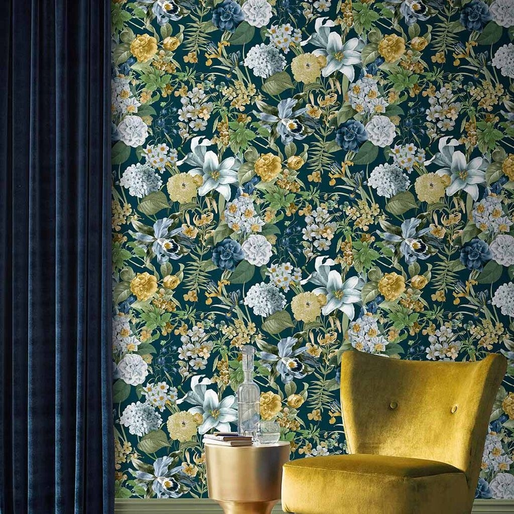 a blue, green, yellow, and white floral wallpaper
