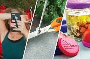 phone with strap, magnetic pick-up tool, food huggers