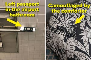 A passport left in the airport bathroom, and a drill camouflaged by a bed comforter