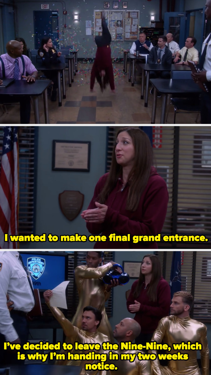 """Gina Linetti saying, """"I wanted to make one final grand entrance. I've decided to leave the Nine-Nine, which is why I'm handing in my two weeks' notice"""""""