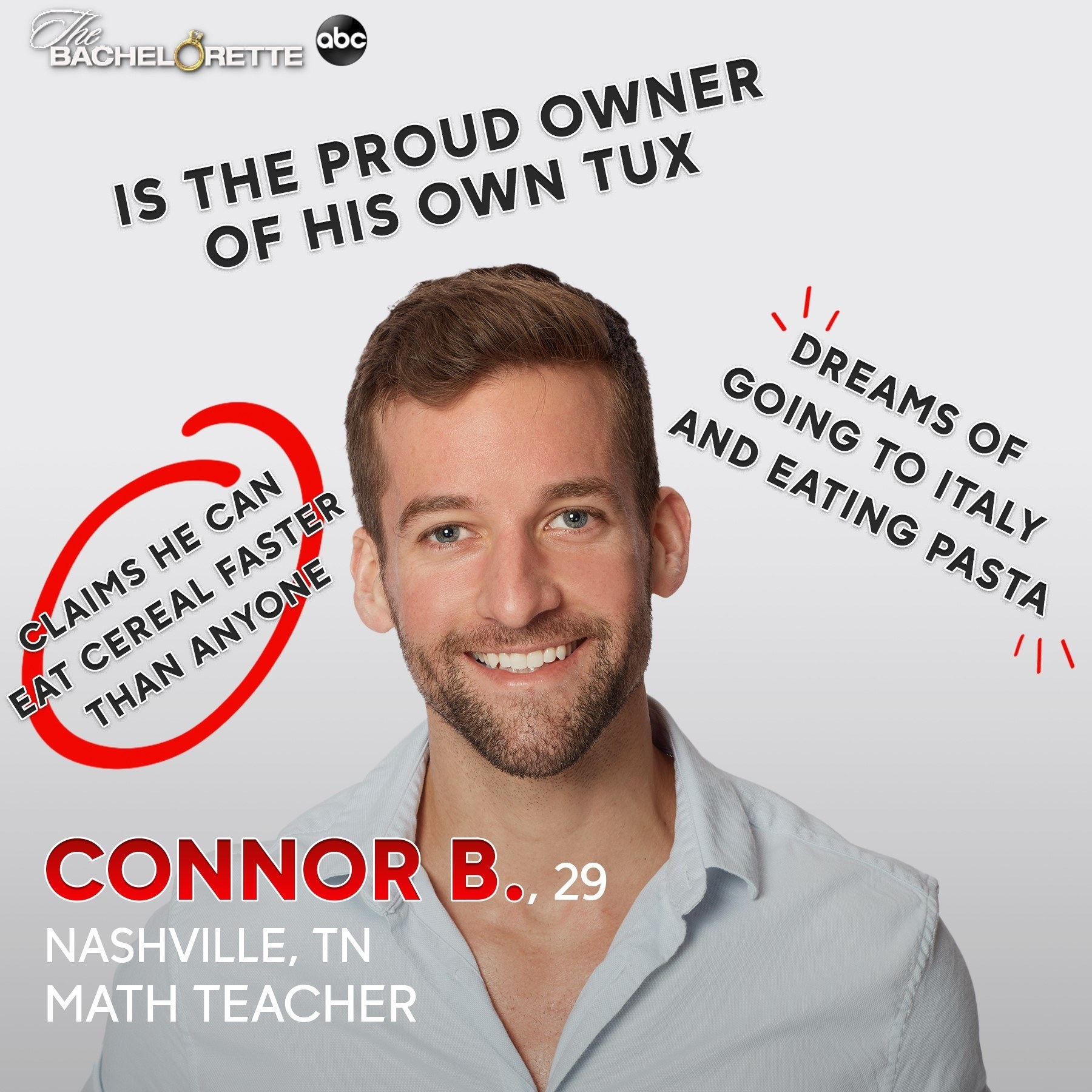 A math teacher who owns a tux and claims he can eat cereal faster than anyone else