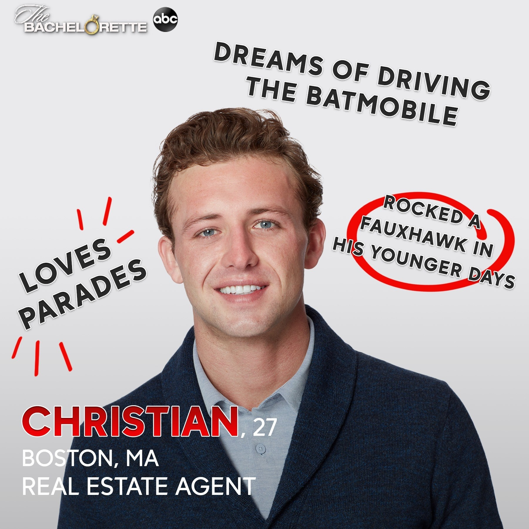 A real estate agent who loves parades and dreams of driving the Batmobile