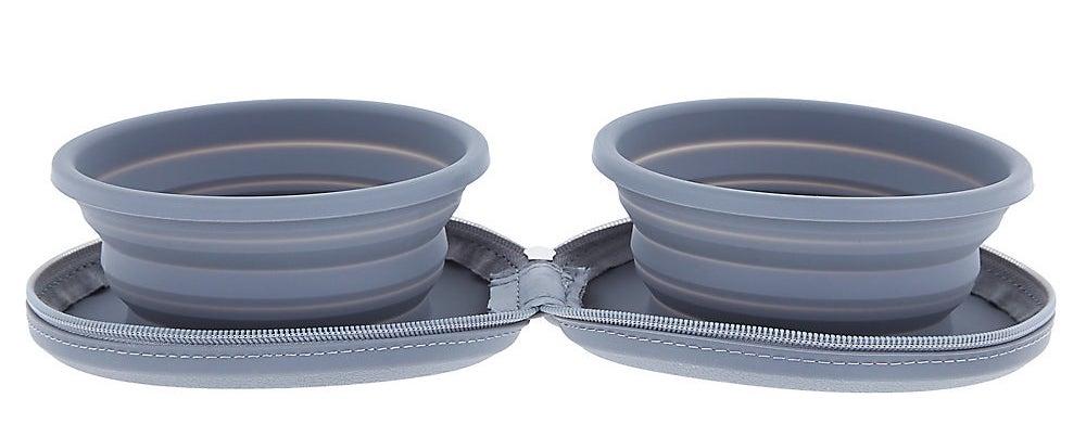A set of grey travel bowls