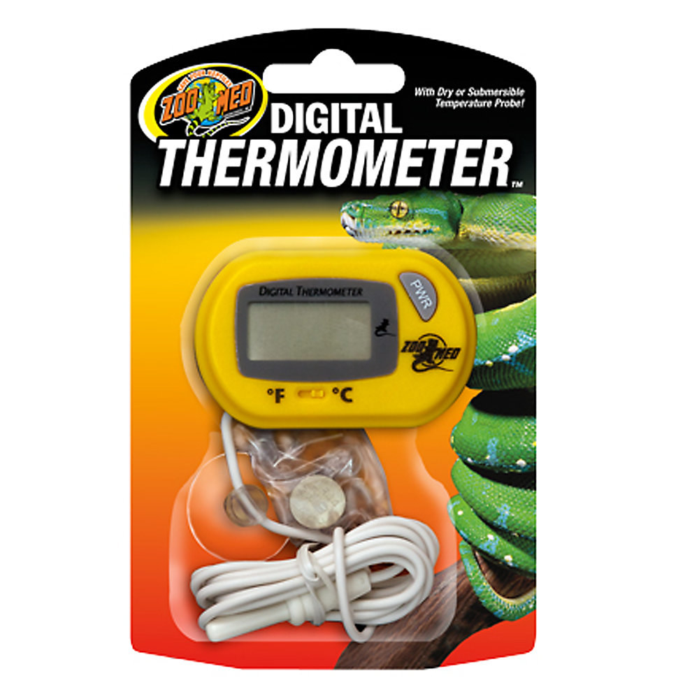 A yellow thermometer in red and green packaging