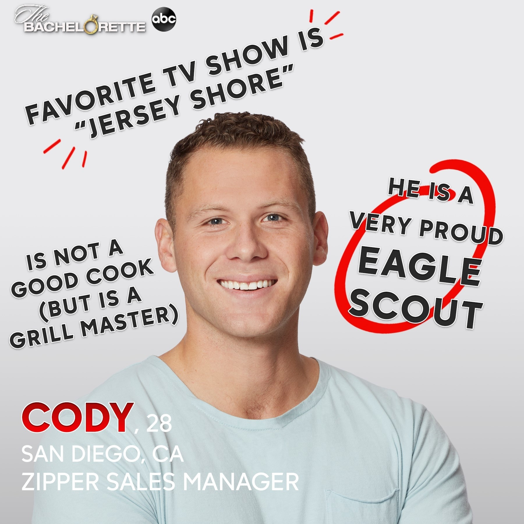 """A zipper sales manager who is a good grill master and who loves """"Jersey Shore"""""""