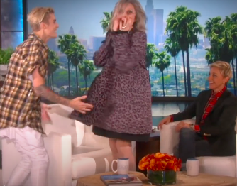 Diane Keaton screaming as Justin Bieber surprises her on The Ellen Show