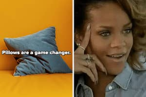 A side-by-side of a pillow and Rihanna looking happy