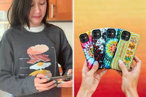 to the left: a buzzfeed employee wearing a bacon egg and cheese sweatshirt, to the right: four grateful dead sweatshirts