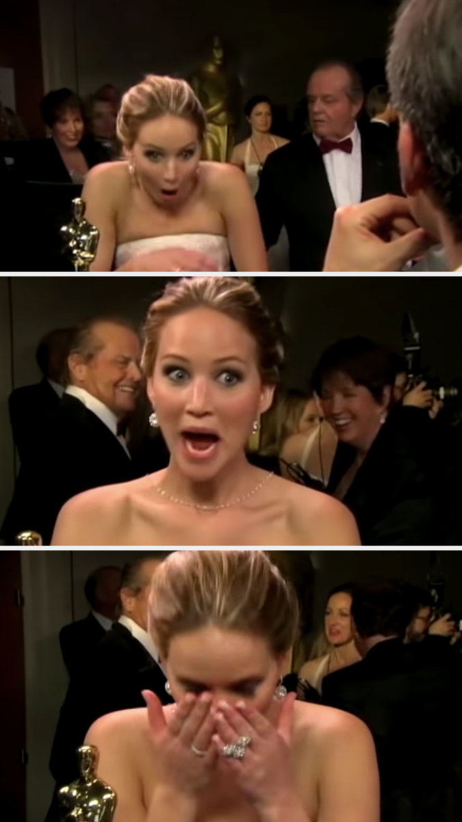 Jennifer Lawrence being totally starstruck while meeting Jack Nicholson during the 2013 Oscars