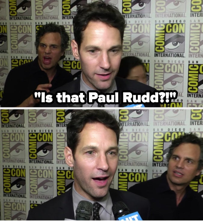 Paul Rudd giving an interview and Mark Ruffalo coming up behind him surprised