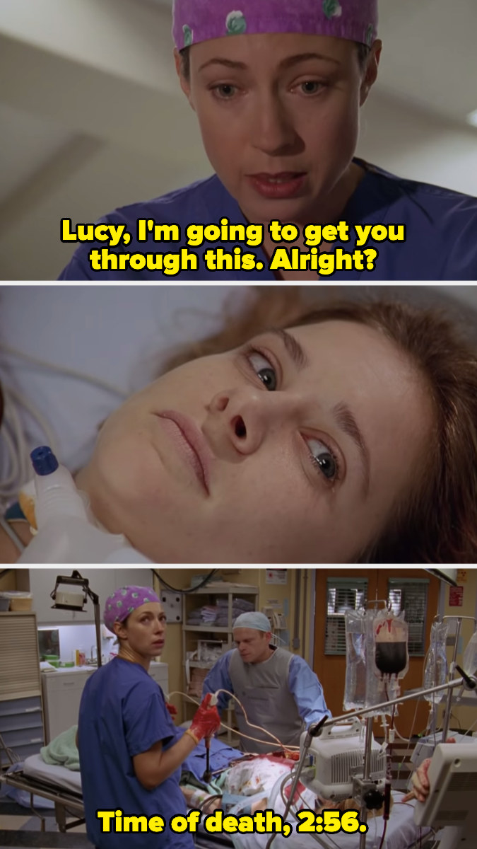 """Dr. Corday telling Lucy, """"I'm going to get you through this, alright?"""" and then saying, """"Time of death, 2:56"""""""