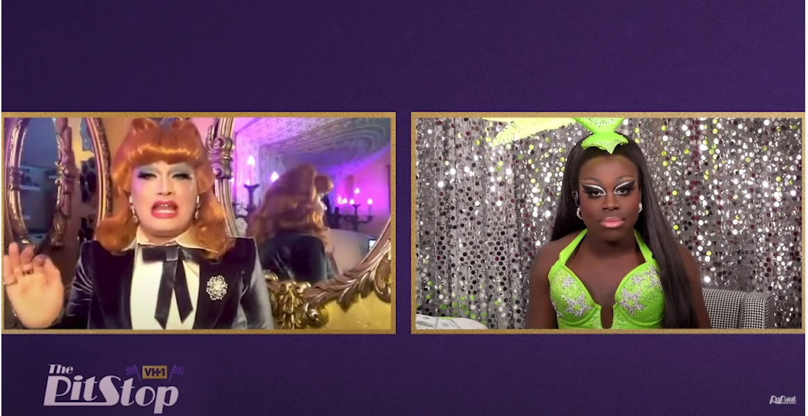 Screenshot of Bob interviewing Jinkx of The Pit Stop