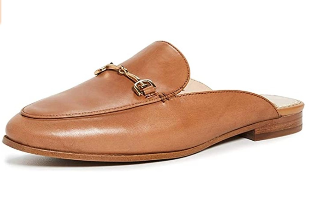Sam Edelman women's classic mule shoe in saddle