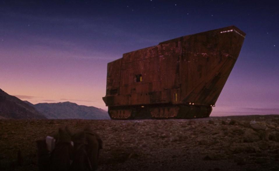 tall and angular ship on wheels