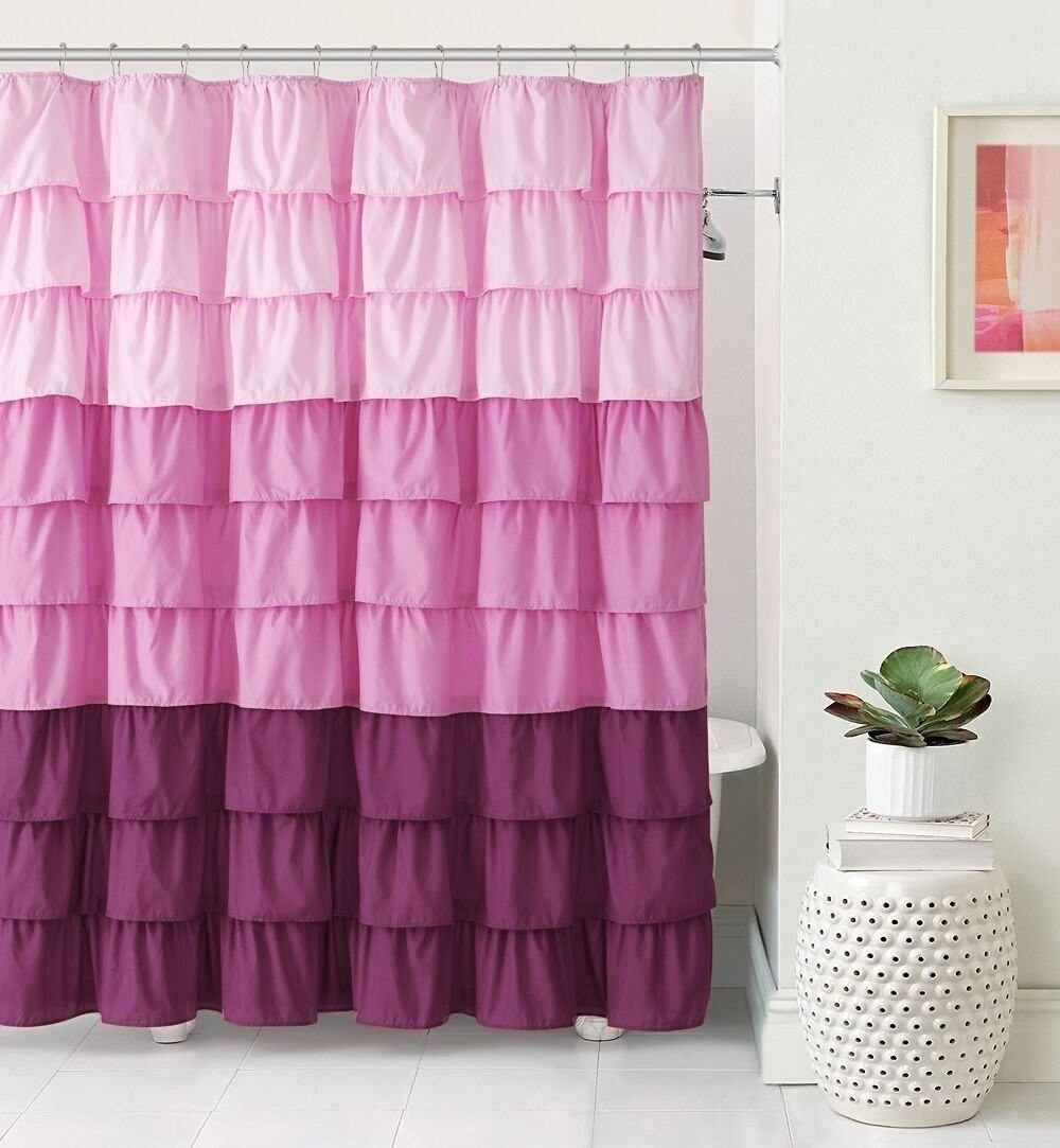 pink and magenta ruffled shower curtain