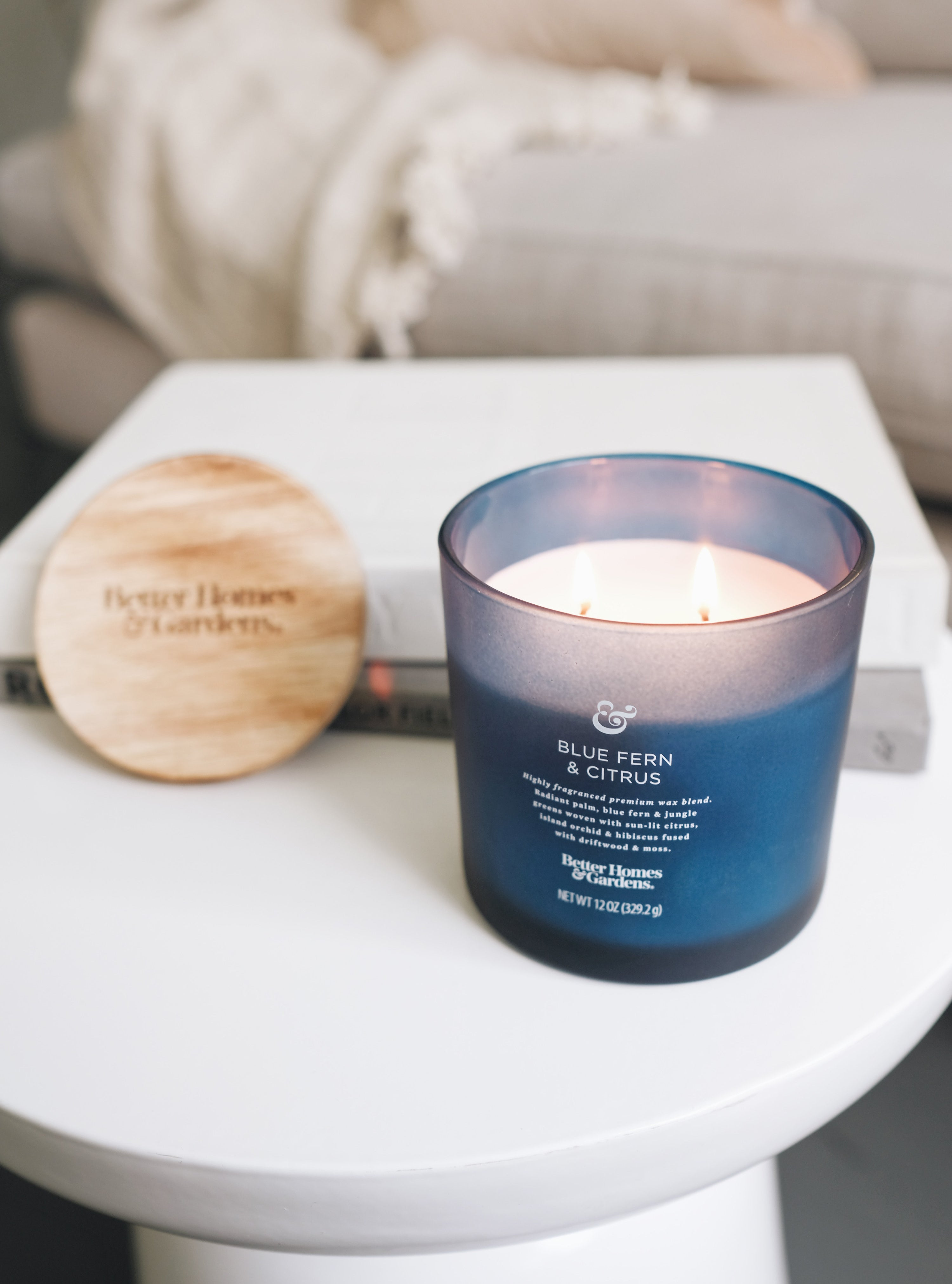 the blue fern and citrus scent with wood-like lid and blue jar