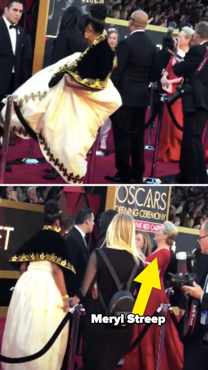Tiffany Haddish hops over red carpet rope to meet Meryl Streep