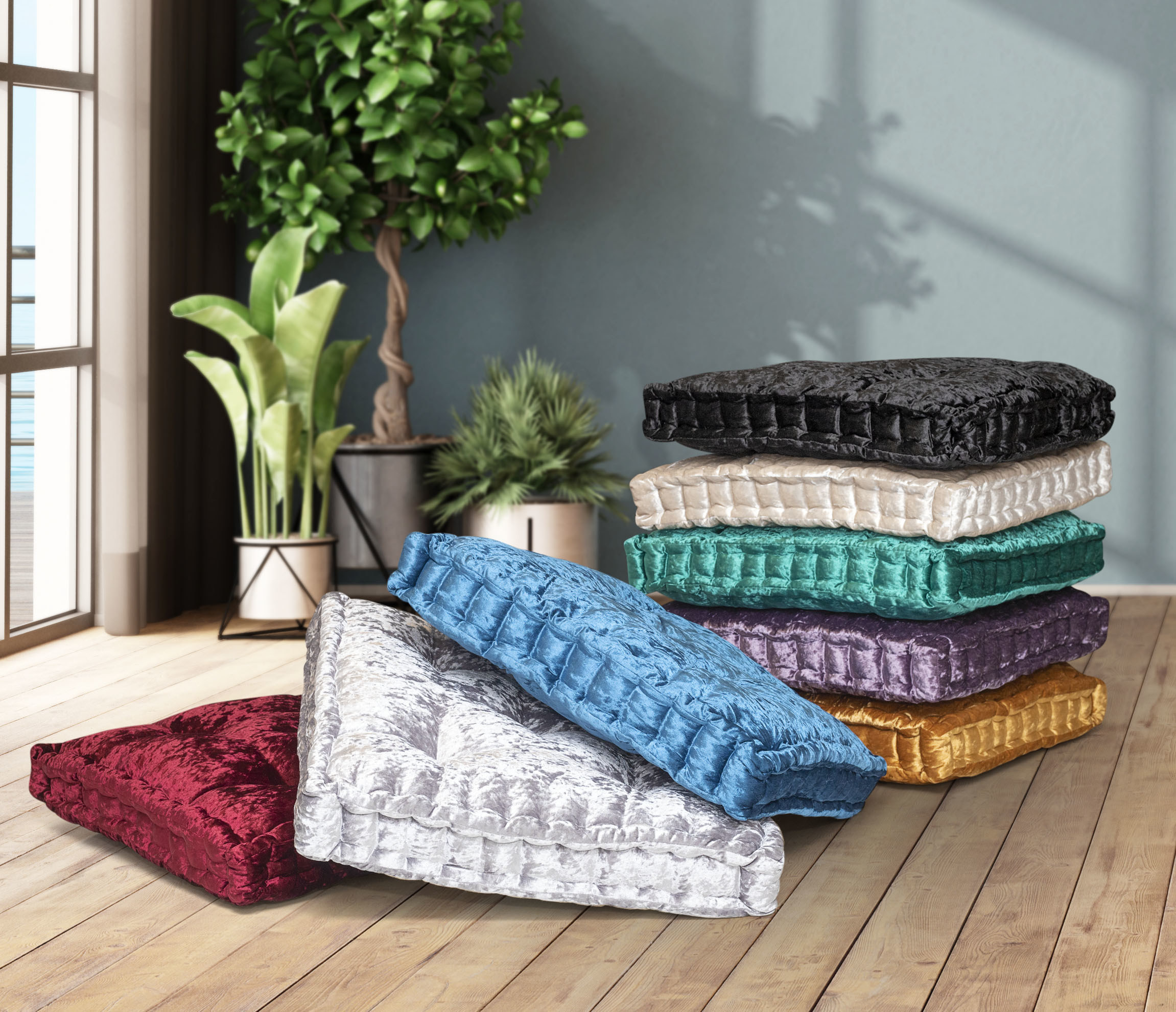 the large tufted square cushions in red, gray, blue, black, off-white, green, purple, and yellow